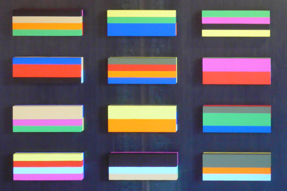 Box div., 2010-2011, je 15 x 40 x 6 cm, Acryl auf Holz