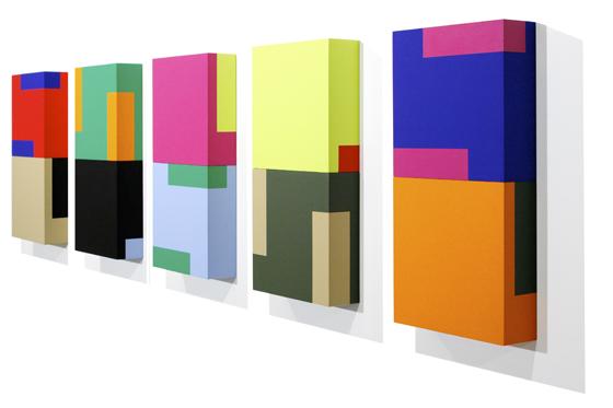Domino 3A-3E, 2008, je 20 x 40 x 6 cm, Acryl auf Holz