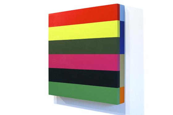 Stripes 23, 2008, 45 x 45 x 6 cm, Acryl auf Holz