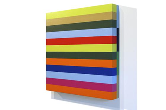 Stripes 11, 2008, 45 x 45 x 6 cm, Acryl auf Holz