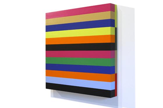 Stripes 12, 2008, 45 x 45 x 6 cm, Acryl auf Holz
