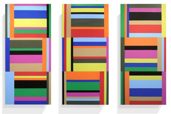 Stripes irregular 03/02/01, 2010, je 40 x 90 x 6 cm, Acryl auf Holz