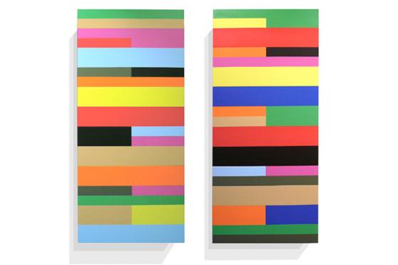 Stripes irregular 04/05, 2011, je 40 x 90 x 6 cm, Acryl auf Holz
