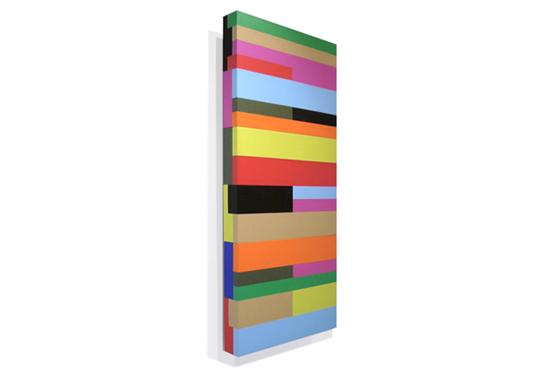 Stripes irregular 04, 2011, 40 x 90 x 6 cm, Acryl auf Holz