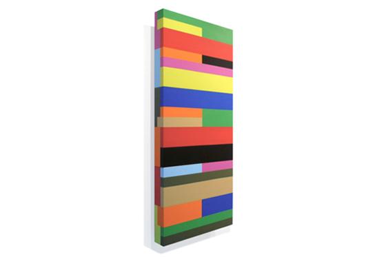 Stripes irregular 05, 2011, 40 x 90 x 6 cm, Acryl auf Holz